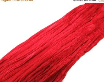 SALE 1 oz Mulberry Silk roving, hand dyed , color Tomato Red