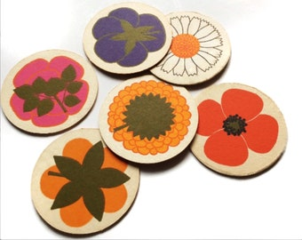 Laurids Lonborg 60s set of 6 coasters. Mid century modern danish design. Al and Lena Eklund Scandinavian design.