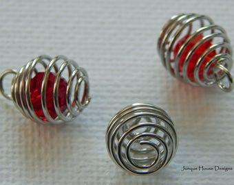 Bead Cages, Stainless Steel 10 mm x 7 mm Spiral Charms For Jewelry Making