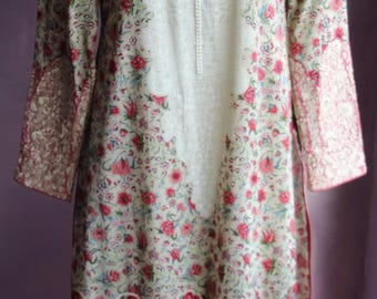 Georgous Indian Embroidered Tunic Dress 70s-80s Large