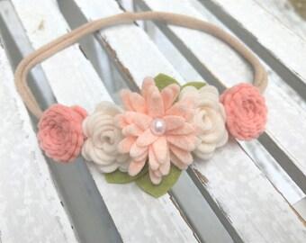 Felt flower headband - READY TO SHIP - nylon band -