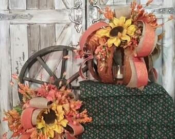 Fall Harvest Event Autumn Decor, Fall Decor, Fall Centerpiece, LUMINOUS PUMPKIN Silk Floral & LED Candle Seasonal Thanksgiving Centerpieces