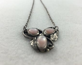 Pink Mother of Pearl Sterling Silver Necklace