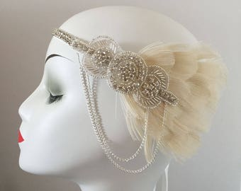 Ivory Peacock Feather 20s Flapper Rhinestone Headband Head Dress Bridal Hair Wedding