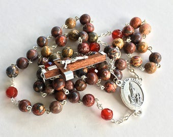 Our Lady of Fatima Rosary w/ Wooden Crucifix