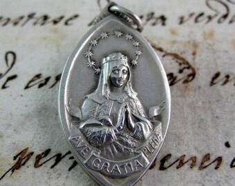 Antique Queen of Heaven Medal - Alpacca - Spanish - Catholic Religious