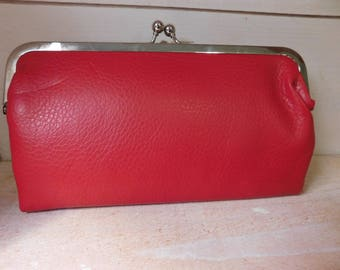 Vintage Red Purse Clutch - Leather