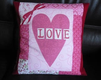 """""""Love pink"""" patchwork Cushion cover"""