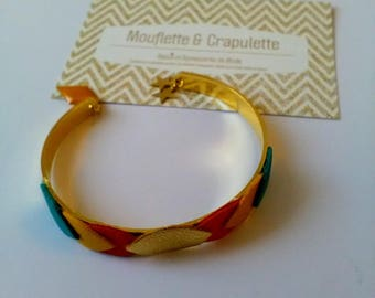 """Bangle gold metal and leather leaves """"Goldie"""""""