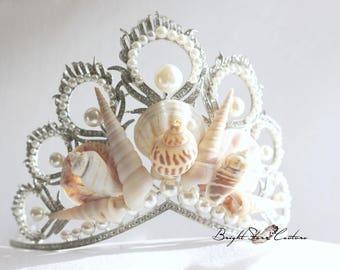 Beach wedding - Mermaid Crowns - shell crown - pearl wedding tiara - Beach wedding headband - seashell tiara - seashell headband - crowns