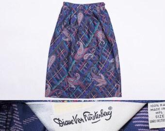 DIANE VON FURSTENBERG Paisley Print High Waisted Maxi Skirt