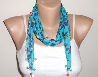 blue scarf  beads cotton scarf yemeni scarf trendy scarf fashion accessories birthday gift for her