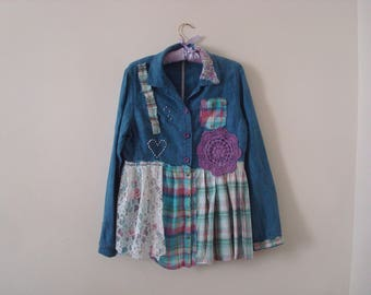 Upcycled Blue Jacked Check Jacket Linien Cotton Denim Purple Pink Tattered Gown Gypsy Hippie Grunge Green Altered Recycled Eco Alternative