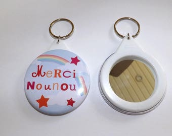 "Keychain mirror ""thank you nanny"" background rainbow round measuring 5.8 cm in diameter"