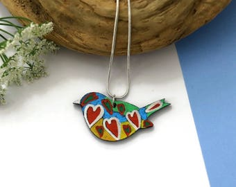 Bird Necklace, Wooden Necklace, Hand Painted Jewelry, Wooden Jewelry, Unique Jewelry, Bird Jewelry, Modern Jewelry, Handmade Necklace