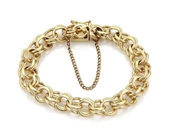 20503 - Estate Double Rings 14k Yellow Gold Charm Bracelet