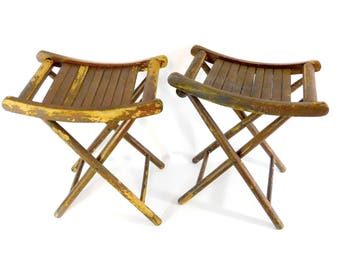 rustic wooden folding stools vintage slatted seat stools fishing camping portable seating
