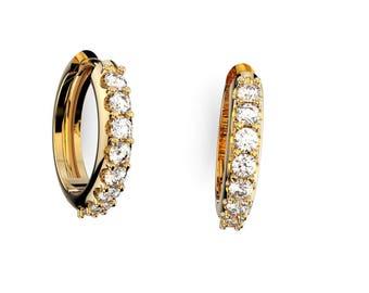 14K  Gold,  Diamond Round,  Hoop Earring    1/3 CTW