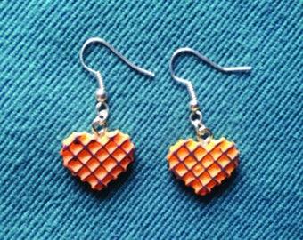 "Earrings ""gourmet"" orange heart REF: BO174"