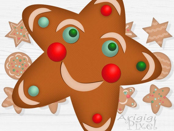 gingerbread cookies clip art set, star, circle, Christmas clipart, holiday graphic, festive Photoshop elements download