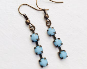 Sky blue earrings, Small blue earrings, Blue dangle earrings, Powder blue earrings for women, Baby blue earrings