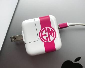 iPad Monogram CHARGER and USB WRAP Decal Monogram Custom Label your Charger iPad iPhone iPod Decal