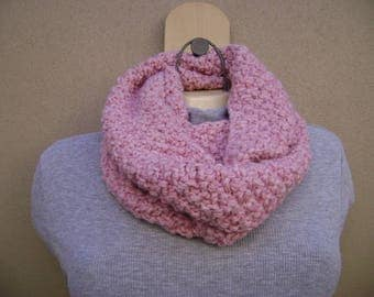Pink Infinity Scarf. Loop Scarf. Circular Scarf. Knit Scarf. Hand Knit.