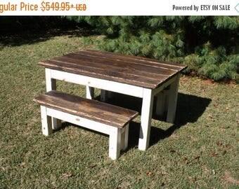 sale primitive distressed dark walnut stained antique country white farmhouse farm kitchen table wtwo - Primitive Kitchen Tables