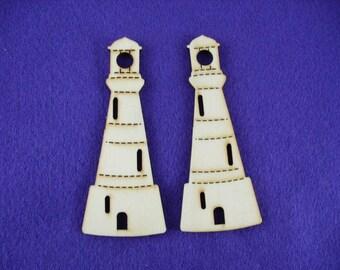2 lighthouses, wood, 10 x 4 cm (13-0001B)