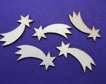 5 shooting stars, wood, 8 x 3 cm (24-0040B)
