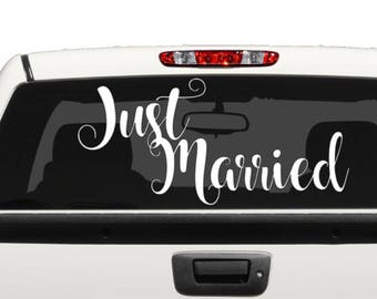 Just Married Vehicle Vinyl Decal Wedding Day Vehicle