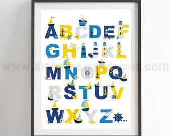 Nautical Alphabet Poster - Nautical Nursery Wall Art - Nautical Poster - Alphabet Wall Art - Alphabet Nursery Art - Nursery Art - 22-0026