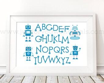 Robot Alphabet Poster - Nursery Wall Art, Robot Poster, Alphabet Wall Art, Alphabet Nursery Art, Alphabet Nursery, Nursery Art - 22-0039