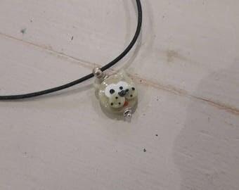 Beige cat spun Lampwork Glass necklace