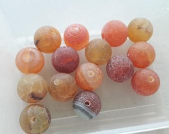 set of 15 antique agate, Brown pearl beads orange