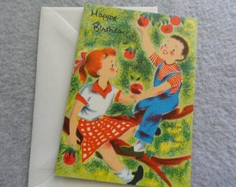 Vintage Happy Birthday greeting card - Boy and Girl picking apples - Free shipping