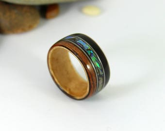 Ebony & Maple Wood Ring With Abalone + Guitar Strings, Wooden Rings, Mens Wood Rings, Wooden Wedding Rings, Bent Wood Rings, Wooden Ring