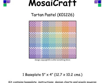 MosaiCraft Pixel Craft Mosaic Art Kit 'Tartan Pastel' (Like Mini Mosaic and Paint by Numbers)