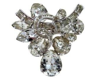Eisenberg Brooch Teardrop Rhinestone Silvertone Vintage Baguette Marquise Clear Stones