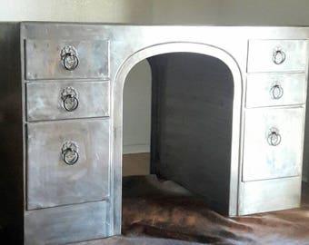 Vintage Modern Minimalist Industrial Zinc Metal Desk