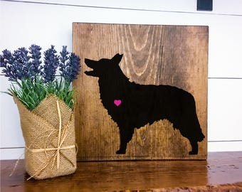 Border Collie Silhouette Hand Painted Stained Wood Sign, Dog Decor, Gift for Dog Lover, New Puppy Gift, Dog Sign Decor, Housewarming Gift