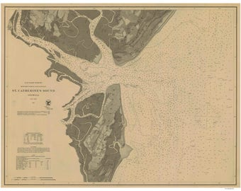 St Catherine's Sound 1867 - Map Old Nautical Chart - Georgia - Reprint - AC Harbors 443