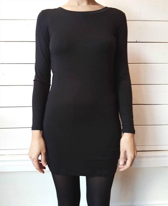 TUNIC 2015 - long sleeve minimaliste plain tunic for women - black