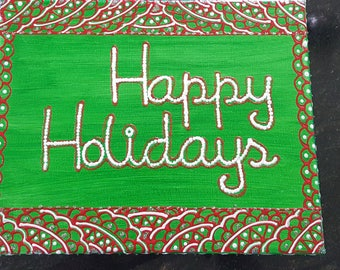 Henna design canvas with Merry Christmas/Happy holidays