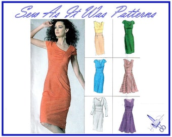 "FF Uncut 2010s Vogue Options 8787 Asymmetrical Neckline Sheath Flared Skirt Dress Sewing Pattern Sizes 6 8 10 12 14 Bust 30 31 32 34 36"""