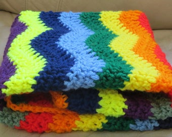 Ready to Ship Crochet RAINBOW MINI BLANKIE, Photo Prop, crib blanket, car seat afghan, stroller blanket, baby shower gift, Baby Boy, Girl