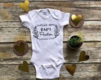 Coming Soon Onesie, Pregnancy Reveal Onesie, Pregnancy Reveal to Husband, Pregnancy Reveal to Grandparents, Pregnancy Announcement