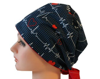 Scrub Hat Surgical Scrub Cap Chemo Vet Nurse Chef Dr Hat European Pixie Style Calling All Nurses Hearts EKG  2nd Item Ships FREE