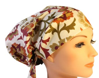 Scrub Hat Cap Chemo Bad Hair Day Hat  European BOHO Rust Olive Floral 2nd Item Ships FREE