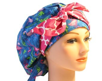 Scrub Cap Surgical Medical Chemo Chef Vet Nurse Hat Banded Bouffant Tie Back Blue Flamingos Pink Tie 2nd Item Ships FREE